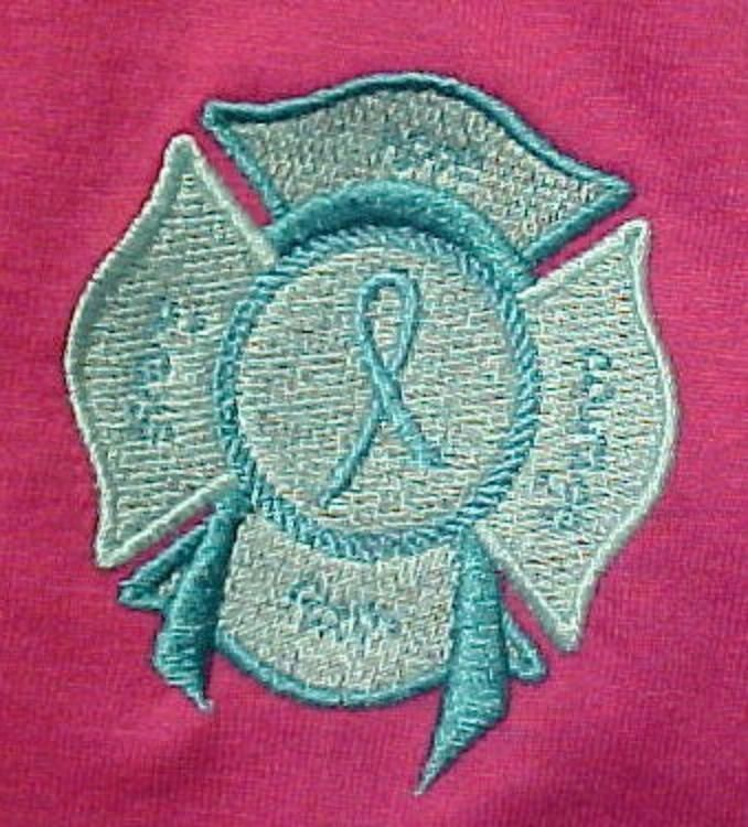 Primary image for Ovarian Cancer Awareness Teal Ribbon Fire Maltese Cross Pink S/S T Shirt M New