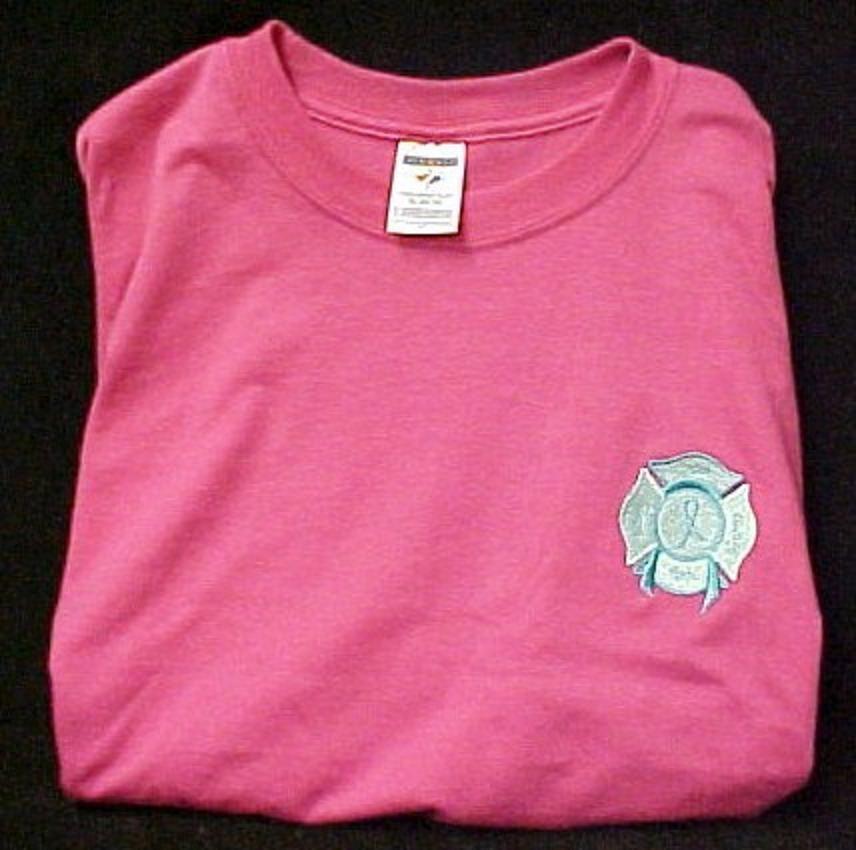 Ovarian Cancer Awareness Teal Ribbon Fire Maltese Cross Pink S/S T Shirt 3X New
