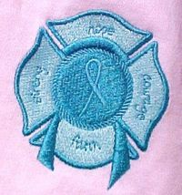 Ovarian Cancer Awareness Teal Ribbon Fire Maltese Cross Pale Pink T Shirt 2XL image 2