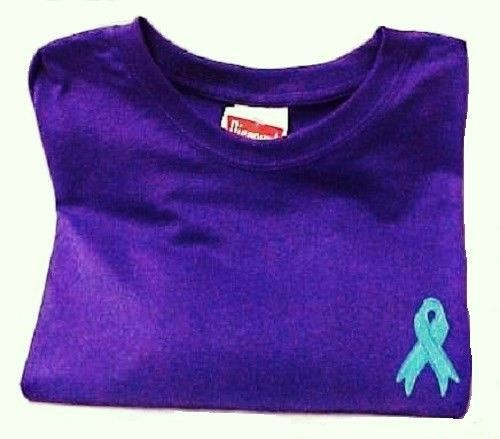 Ovarian Cancer Awareness Embroidered Teal Ribbon Purple Short Sleeve T-Shirt New