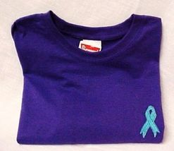 Ovarian Cancer Awareness Embroidered Teal Ribbon Purple Short Sleeve T-Shirt New image 14