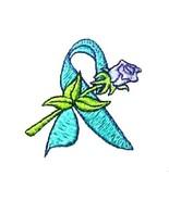 Ovarian Cancer PKD PTSD Hoodie Teal Awareness Ribbon Rose White Sweatshi... - $31.65
