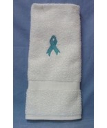 Ovarian Cancer Teal Ribbon White Hand Face Towel NWT - $11.73