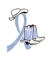 Periwinkle Awareness Ribbon Pin Cancer Cause Sparkling Cowboy Western Bo... - $13.97