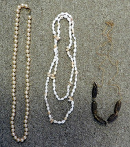 Pearl Sea Shell Gold Charm Stretch Chain Necklace Lot of 3 Costume Fashion - $19.57