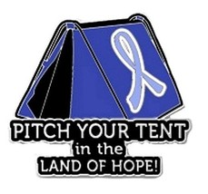 Periwinkle Cancer Awareness Ribbon Pin Pitch Tent Land Hope Camping Insp... - $13.97