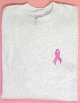 Pink Ribbon Ash Gray Sweatshirt Breast Cancer Awareness Crew Neck 3XL New - $24.22