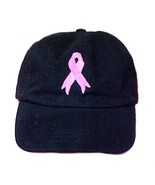 Pink Ribbon Baseball Hat Breast Cancer Awareness Black Embroidered Low C... - $16.63
