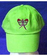 Pink Ribbon Butterfly Baseball Hat Breast Cancer Awareness Lime Green Ca... - $17.43