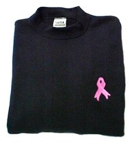 Pink Ribbon Black Sweatshirt Embroidered Breast Cancer Awareness Unisex ... - $24.72