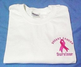 Pink Ribbon Survivor T Shirt Breast Cancer Awareness White Short Sleeve ... - $19.17