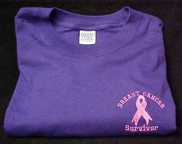 Pink Ribbon Survivor T Shirt Breast Cancer Awareness Purple Short Sleeve... - $19.17