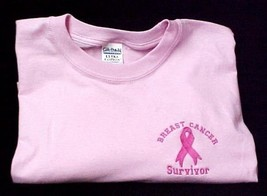 Pink Ribbon Survivor T Shirt Breast Cancer Awareness Pnk Short Sleeve Sm... - $19.57