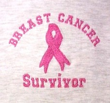 Pink Ribbon Survivor T Shirt Breast Cancer Awareness Gray Short Sleeve 2... - $21.53