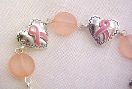 Pink Ribbon Heart Bead Bracelet Lobster Claw Clasp Breast Cancer Awareness New - $8.70