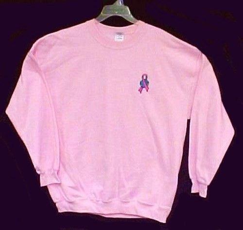 Pink Ribbon World Sweatshirt Breast Cancer Awareness Earth Pnk Crew Neck L New