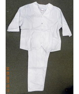 Premier White V Neck Lapel Nurse Uniform Scrub Top Pants Set 5572H Size ... - $24.72