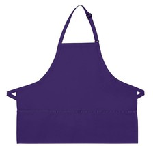 Purple Bib Apron 3 Pocket Craft Restaurant Baker Butcher Adjustable USA New - $15.65