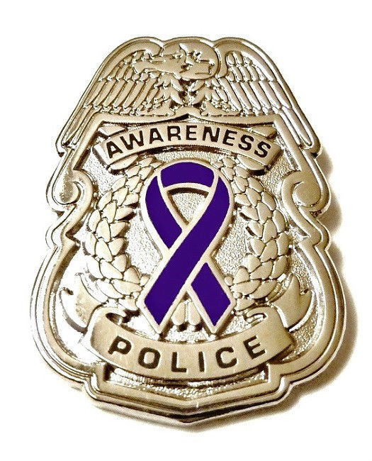 Purple Awareness Ribbon Pin Police Badge Officer Sheriff Cop Cancer Causes New S