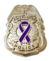 Purple Awareness Ribbon Pin Police Badge Officer Sheriff Cop Cancer Caus... - $13.97