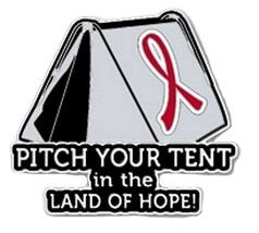 Red Awareness Ribbon Pin Pitch Your Tent in the... - $13.97