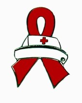 Red Ribbon Nurse Cap Lapel Pin Tac Tack Cancer ... - $13.97