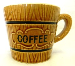 Royal Sealy Wood Grain Barrel Mug Japan Wooden Coffee Cup Vintage - $24.47