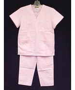 Scrub Set 2 Piece Pink V Neck 3 Pocket Top & Elastic Drawstring Pants XS... - $14.82