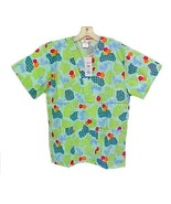 Scrub Top V Neck Bears Balloons Hearts Scrubs Cheerful Print Expo Unifor... - $14.37