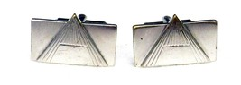Speidel Geometric Mens Cuff Links USA Silver Plated Rectangle Triangle V... - $38.77