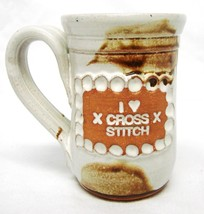 Studio B Thorpe Pottery Mug Hand Crafted Love Cross Stitch Cup Brown - $24.47