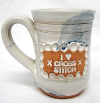 Studio B Thorpe Hand Crafted Pottery Mug I Love Cross Stitch Cup Blue Accents - $24.47