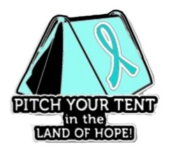 Teal Ribbon Lapel Pin Cancer Awareness Pitch Your Tent in the Land of Ho... - $13.97