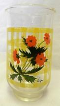 Vega Orange Flower Floral Yellow Lattice Kitchen Juice Water Glass Vintage - $21.53