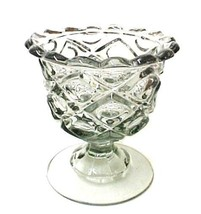 Viking Smoke Glass Scalloped Edge Diamond Candy Fruit Pedestal Compote S... - $22.51