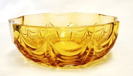 Vintage Amber Ruffled Scalloped Draped Glass Candy Bowl Dish - $29.37