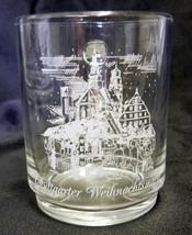 Vintage Arcoroc Stuttgarter Weihnachtsmarkt White Etched Glass Cup Mug France - $21.53