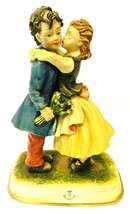 Vintage CapoDiMonte Figurine Porcelain Girl Boy Kissing Lovers Couple Italy Love - $290.97