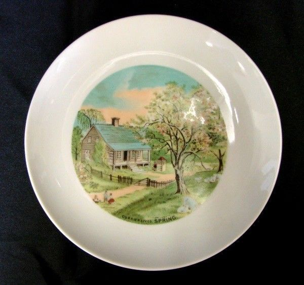 Vintage Currier & Ives Plate SPRING American Homestead Four Seasons Japan