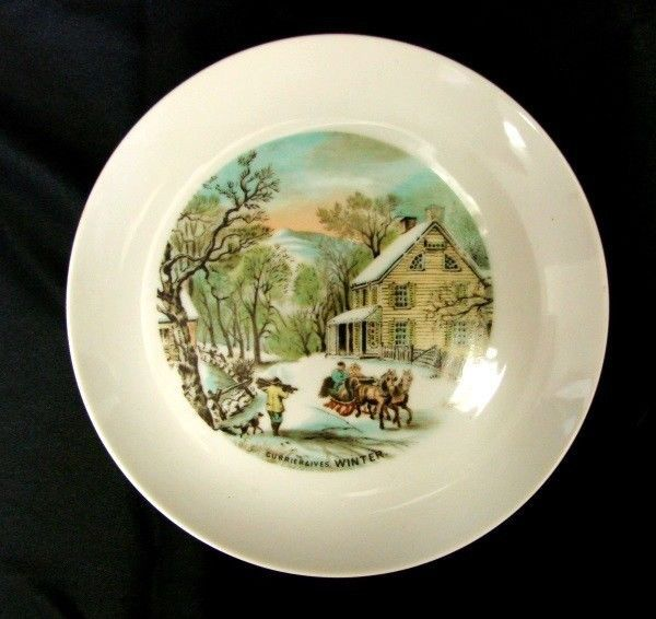 Vintage Currier & Ives Plate WINTER American Homestead Four Seasons Japan