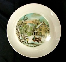 Vintage Currier & Ives Plate WINTER American Homestead Four Seasons Japan - $21.56