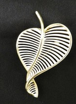 Vintage Curved White Leaf Brooch Pin Costume Fashion Gold Plated Heart - $24.22