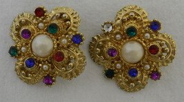 Vintage Costume Multi Stone Pearl Ruby Garnet Gold Plated Clip On Earrings - $58.77