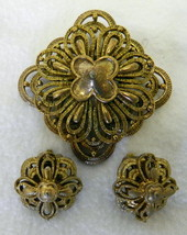 Vintage Costume Usner Gold Plated Brooch Pin Clip Back Floral Cross Earr... - $39.17