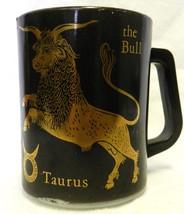 Vintage Federal Heat Proof Glass Black Gold Taurus Bull Zodiac Cup Mug USA - $24.47