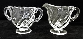 Vintage Fostoria Glass Co Colony Clear Swirl Cream Pitcher Open Sugar Dish Set - $39.17