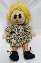 Vintage Handmade Blonde Hand Sewn Craft Blue White Floral Dress Doll - $29.37