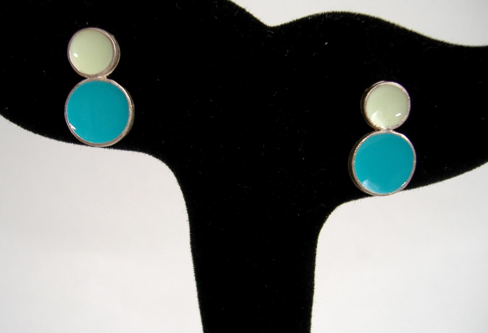 Turquoise Blue Aqua Mint Dot Enamel Earrings Silver Unique Handmade Pierced Post