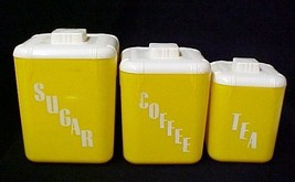 Vintage Rona Yellow Plastic Sugar Coffee Tea Ca... - $33.92