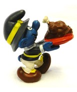 Vintage Schleich Peyo Smurf Thanksgiving Pilgrim Turkey Figurine Portuga... - $18.40